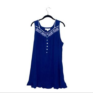 EILEEN WEST Royal Blue Short Night Gown